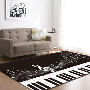 Nordic Rugs Living Room Home Decoration Carpets White Black Piano Keyboard Notes Soft Flannel Bed Room Floor Mats Carpet