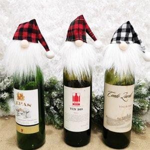 Bottiglia di Natale fortunato Ornamento vino rosso riguarda il vino copertina Xmas Tree Hanging Bottiglia Ciondolo Covers Festival Partito Faceless Doll Decor E110303