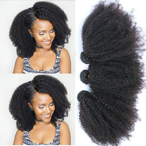 Mongolian Afro Kinky Curly Bundles Human Hair Bundles With Closure 100% Human Hair Weave Extensions 4B 4C Virgin Hair EverBeauty
