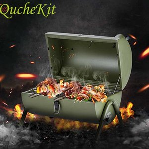 Outdoor barbecue portable stainless steel folding charcoal barbecue picnic hot separation cold barbecue