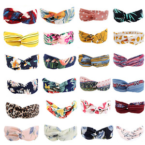 2021 New Ladies cross headband wash face sports perspiration prevention headband wavy point headband twist bag twist soft Headbands Bandanas