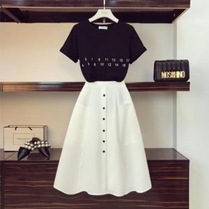women tracksuit HIGH QUALITY Women Letter T Shirt High Waist Button Skirts 2PCS Clothing Set Summer Clothes Suits