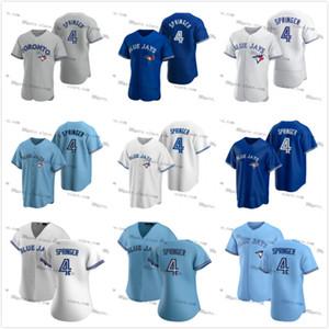 # 4 George Springer Blue Vladimir Guerrero JR Jerseys Jay Blank Non Nom Numéro Numéro Bo Bichette Blank Toronto Jersey