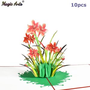 10 Pack 3D Daffodil -Up Flower Card Greeting Cards for Valentines Day Get Well Mothers Day Birthday Anniversary Wholesale