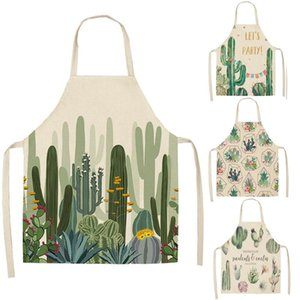 Cactus Pattern Kitchen Apron for Woman Sleeveless Linen Cotton Aprons Home Cooking Baking Bibs Cleaning Tools