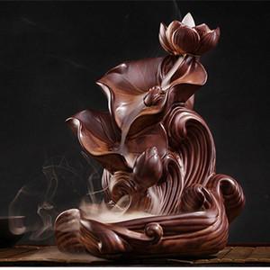 Nova quarto difusor de escoamento de retorno da placa de cerâmica de lótus grandes varas de incenso titular fragrância humidificador Buda incenso yZjj #
