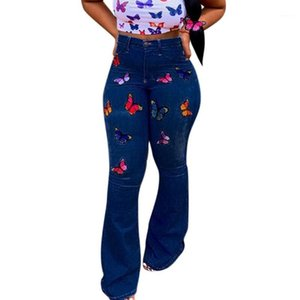 JAYCOSIN Jeans for Women Butterfly Embroidery Elastic Denim Casual Bottom Flares Pants ladies long pants Skinny High Waist jean1