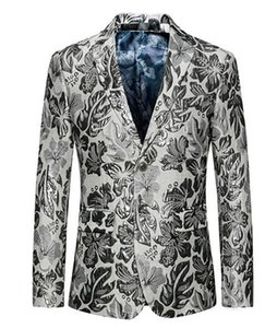 New Boutique Han Edition Men Winter Wedding Host Big Yards White Suit Jacket