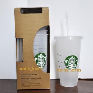 24oz / 710ml Transparente Plastikbecher Saft Tassen, die Coffe Farbe nicht wiederverwendbare Getränkebecher Starbucks Becher mit Deckel ändern und Strohhalme