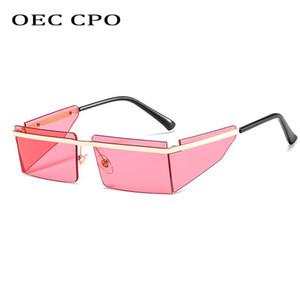 New Small Rimless Sunglasses Women Fashion Punk Square Sunglasses Men Eyewear Retro Rectangle Glasses For Female Shades UV400