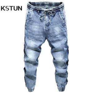 KSTUN Men Jeans 2020 Light Blue Denim Stretch Jogger Pants Man Fashion Side Rivets Casual Haren Jean Men's Trousers Plus Size 42