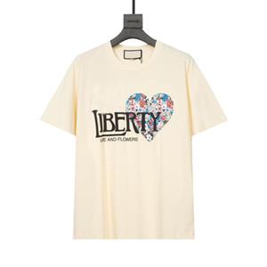 21ss Diseñador de hombres Mujeres Camiseta de mujeres con arte de alta calidad Cerdo de gato Bordado Amor y flor Liberty Style Comfort Tee Oversized XS S M L