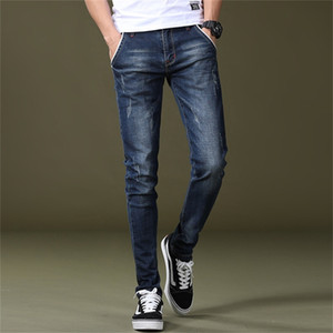 Free Shipping 2020 New Men's Mid-waisted Feet Jeans Stretch Slim Poppy Youth Long Pants