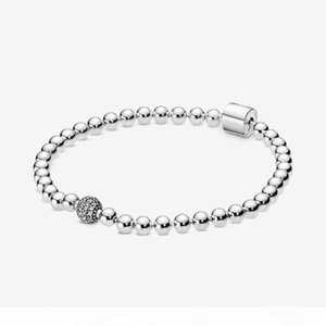 100% 925 Sterling Silver Beads & Pave Bracelet Fashion DIY Jewelry Accessories For Women Gift Free Shipping