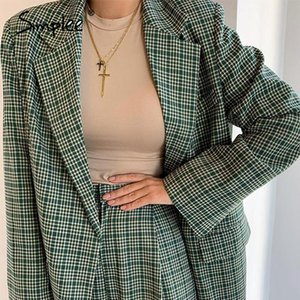 Simplee Elegant plaid two-pieces women blazer suit Casual streetwear suits female blazer set Chic office ladies women coat suit