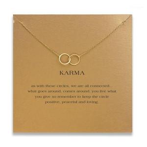 Moda Doppio Circolo Collana Donna Ciondolo Clavice Catena Dichiarazione Choker Collane Karma Card Collares San Valentino