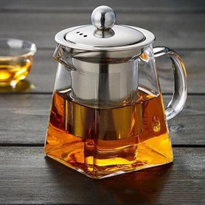350ML Clear Borosilicate Glass Teapot With Stainless Steel Infuser Strainer Heat Resistant Loose Leaf Tea Pot