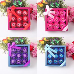 Sabun Gül Kutu 9 Adet Yapay Gül Petal Hediye Kutusu Valentine Günü Weding Engagament Doğum Sabun Gül Kutusu GWA2231