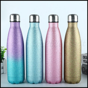 Latest 17OZ Glitter Powder Style Stainless Steel Cola Bottle Thermos Sports Pot Adult and Children's Favorite, Free Shipping Free shipping