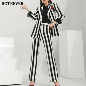 BGTEEVER Stylish Striped Women Pant Suits Double Breasted Slim Suit Jackets & High Waist Pants Autumn Winter Female Blazer Set