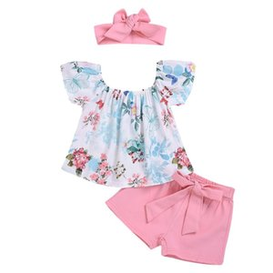 Baby Girl Clothes Newborn Sets Outfit Off Shoulder Floral Tops Bow Shorts Headband 3Piece kit Top Dropshipping roupa infantil