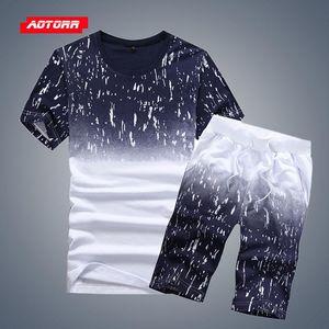 Tuta Uomini Imposta Estate Gradient 2 piece set 2020 casual Sportswear Abbigliamento Uomo Fasion Shorts Imposta Beach Style Tshirt + Shorts