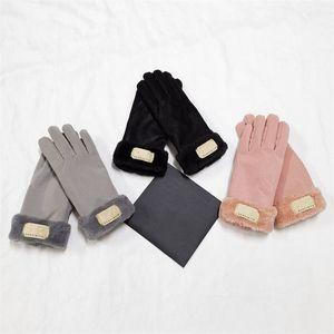 Australien Designerhandschuhe PU-Leder Winter Fleece Handschuh Frauen Mädchen Outdoor Warme Radfahren Handschuhe Trendy Brief Winddichte Handschuhe
