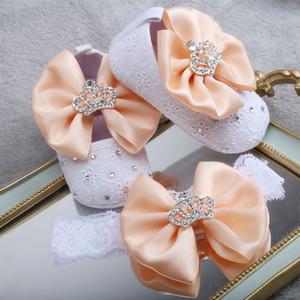 Dollbling Desgived Baby Modelller Обувь Абрикос Цветочный бантик Алмазная Корона Ювелирные Изделия Детская Девушка Детская Обувь Обувь LJ201104