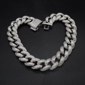 Hip Hop personnalisé 3Row CZ Bracelet Collier Glacé CZ Bling 25mm chaîne Chaînes de Cuban Link Collier hommes Rue Rock Rap Bijoux hfXt #