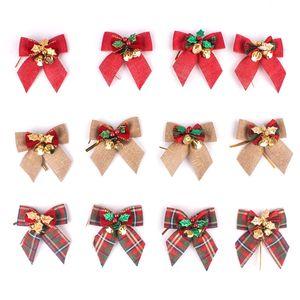 stokta Tasarımcı Narin ilmek Noel Hediyesi Yaylar ile Küçük Bells Yaylar Craft Yılbaşı Ağacı Dekorasyon Noel Bow Aile Süsleme