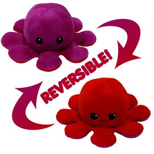 DHL Reversible Flip Octopus Plush Stuffed Toy Soft Animal Home Accessories Cute Animal Doll Children Gifts Baby Companion Plush Toy