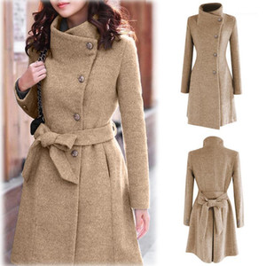 2020 Womens Winter Lapel Wool Coat Trench Jacket Long Sleeve Overcoat Outwear Abrigos Mujer Invierno 2018 Camel Coat Plus Size1