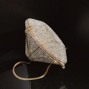 Fashion luxury designer full rhinestone diamonds 3D DIAMOND shape clutch evening bags party handbag for woman ladies super sparkling