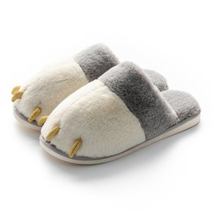 Women Men Slippers Flips Flops Winter Warm Shoes Cartoon Bear Claw Fashion Platform Home Slides Non-slip Couple Flats Indoor X1020