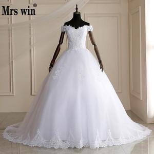 Mme Win élégante dentelle perles longues robes de train 2020 robe de bal de mariage Robes Noiva Robe de mariage Robe de mariée Q1113