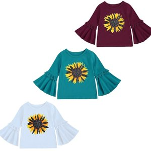 kids clothes girls sunflower Tops children flare Sleeve T-shirts 2021 Spring Autumn Cotton Tees Boutique baby Clothing Z1929