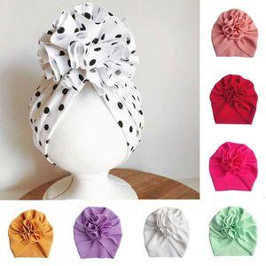 Flower 3d Turban Caps Baby Soft Muslim Hats Twisted Bandanas Girls Cotton Headwear Children Head Wrap Solid Elastic Headscarves bbyUzX