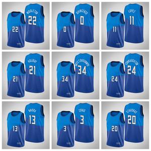 HomensMilwaukeeBucks Giannis Antetokounmpo Khris Middleton Jrue Holiday Qualquer jogador Hot Pressing Costume Basketball Jersey.