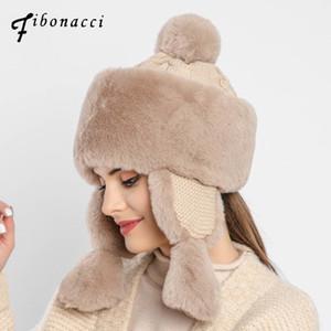 Bomber di Fibonacci nuova delle donne Knit Hat peluche di eco-pelliccia Cappelli invernali antivento Orecchio caldo Bomber Protect russo Ushanka Cap 201013