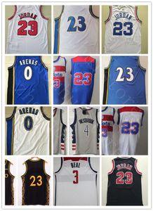 Großhandel NCAA Männer Bradley 3 Becher 4 Westbrook Jersey Neue Grau Rot Blau Weiß # 23 MJ Günstige Retro Vintage Classic Gilbert 0 Arenas Basketball