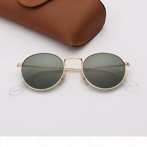 رجل نظارات الشمس راي مصمم النظارات الشمسية موضة العدسات جولة نظارات معدنية العلامة التجارية امرأة الأزرق مرآة نظارات مع حقيبة جلد