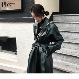 GBYXTY Long Trench Coat for Women Spring PU Leather Single Breasted Trench Femme Belt Windreaker Overcoat abrigos largos ZA1439