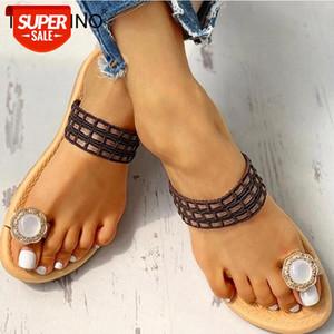 Tino Kino Sommer Kristall Frauen Hausschuhe Verzierte Zehe Ring Sandalen Weibliche Flip Flops Casual Flache Schuhe Damen Strand Schuhe # FI9D