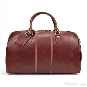 Genuine Leather Travel Duffel Weekender Bag Vintage Handbag Carry On Travel Overnight Luggage Bag for Men Keepall