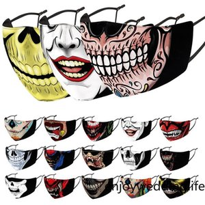 Fast ship face masks Halloween masks Smoking uncle mask skull mask 3D printed cloth replaceable filter adult mask