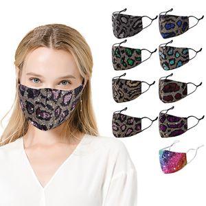 Leopard Pailletten Gesichtsmasken Frauen 3-lagig Filtration Staubdichtes Gesichtsmaske Bling Sequin Cotton Mouth Abdeckung Damen im Freien Durable Gesichtsmasken