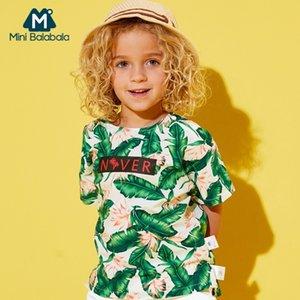 Mini Balabala Kleinkind Junge 100% Baumwolle Tropisches kurzärmliges T-Shirt Kinder Kind Ripped CrewNeck T-Shirt Freier Schulterschlitz an der Seite Y200409