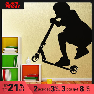 Scooter Kids Wall Art Decal Wall Sticker Mural for Home Decor Living Room Kids Room DIY Waterproof Home Decoration Accessories
