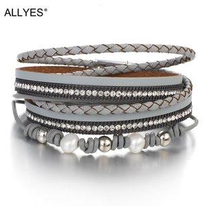 Дешевые дизайнер Allyes, богемные женщины кожа мода 2020, сотканный кристалл жемчужного счет, многослойная упаковка браслет и браслет