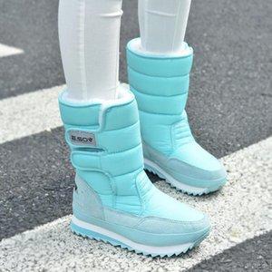 Mulheres botas de neve fashion 2020 Inverno antiderrapantes impermeáveis Duplas Grosso Botas Mid-Calf unissex mulheres sapatos resistentes ao desgaste